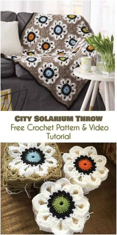 Super easy and one of a kind. Based of flower squares as you can see on the picture below. Link to the free pattern is below. City Solarium Throw – Free Crochet Pattern is here.