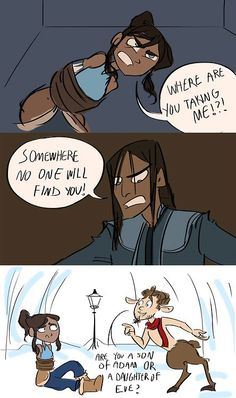 Korra in Narnia....  http://kgishfish.tumblr.com/post/25192224387/i-was-a-little-disappointed-when-tarlock-didnt
