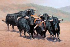 Encierro de Toros Pintor: Walter Zuluaga