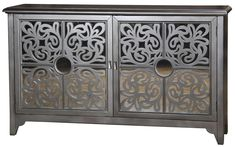 An ornamental fretwork of curving wood over mirror highlights a four-panel door front on this credenza. The sterling finish takes a flamboyant turn as the doors open to uncover a hot pink interior. Large Furniture, Living Furniture, Furniture Styles, Contemporary Furniture, Bedroom Furniture, Furniture Sets, Credenza Decor, Sideboard, Modern Credenza