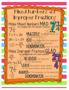 Improper Fractions and Mixed Numbers Poster from OnceUponACreativeClassroom on TeachersNotebook.com -  (1 page)  - What you see is what you get.   Print out for individual student use or enlarge or laminate for a classroom poster!