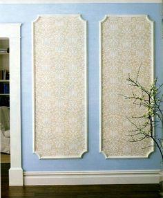 jules: Art/Wall Decor - How to: Framed Wall Panels Using Wallpaper - wallpaper, panel, border, frame, molding, DIY, wall, decor