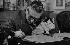 Jean Paul Sartre and a cat
