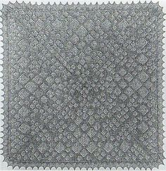 Brora Cobweb Shawl - Large square shawl that was originally designed as a ladies' evening wrap, but which is now also popular as a baby shawl. The pattern has large and small fern motifs throughout. Designed by Gladys Amedro. Kit contains pattern and yarn £23.75 on Jamieson and Smith at http://www.shetlandwoolbrokers.co.uk/epages/BT2741.sf/en_GB/?ObjectPath=/Shops/BT2741/Products/%22Kit%20-%20Brora%20Cobweb%20Shawl%20CW109%22