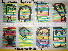 lignes horizontales à l'encre, autoportrait à la gouache Art Activities For Kids, Art For Kids, Art Kandinsky, All About Me Art, Classe D'art, Collaborative Art, Spring Art, Art Classroom, Creative Kids
