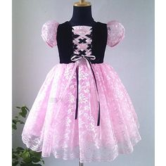 Pink Black Lace Goth Birthday Party Pageant Dresses for Girls Kids SKU-10501087