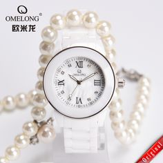 Black Friday 50M Water Resistant Watch White Ceramic Watch Women OMELONG Analog Shell Dial Quartz-watch Timer Ladies Wristwatch