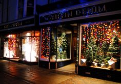 The beautiful Christmas window display at Griffin Denim Cable And Cotton Lights, Christmas Window Display, Window Displays, Beautiful Christmas, Windows, Denim, Display Cases, Shop Displays, Window