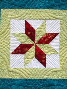 close up, Winter Windows quilt by Emma How