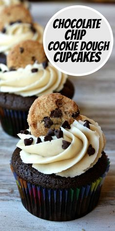 Chocolate Chip Cookie Dough Cupcakes recipe from RecipeGirl.com #chocolate #chip #chocolatechip #cookie #dough #cookiedough #cupcake #cupcakes #recipe #RecipeGirl Fun Easy Recipes, Best Dessert Recipes, Cheesecake Recipes, Cupcake Recipes, Fun Desserts, Cookie Recipes, Cookie Dough Desserts, Cookie Dough Cupcakes, Chocolate Chip Cookie Dough
