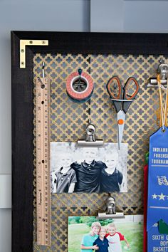 DIY office wall organizer made by framing radiator grate | IHeart Organizing