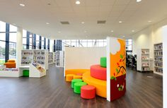 Demco Interiors worked with Kent County Council on the interior design and installation of the eagerly awaited new build Kent History and Library Centre. School Library Design, Kids Library, Classroom Design, School Libraries, Classroom Furniture, Library Furniture, School Furniture, Store Concept, Library Inspiration