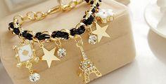 DD2335 -C Hermosa pulsera en chapa de oro 14k, Dama, color Negra, precio de lista $145, PRECIO REMATE $70 (Si tienen alguna duda de las especificaciones pregunte a su vendedor)