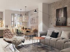 mur béton dans la salle de séjour de style industriel aménagée avec un canapé gris, fauteuil facetté et table basse hexagonale