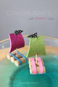 Crafts For Kids To Make At Home - Cork Sail Boats - Cheap DIY Projects and Fun Craft Ideas for Children - Cute Paper Crafts, Fall and Winter Fun, Things For Toddlers, Babies, Boys and Girls to Make At Home http://diyjoy.com/diy-ideas-for-kids-to-make
