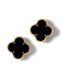 Van cleef and Arpels Sweet Alhambra Clover mini earrings 18 K Yellow Gold, Onyx Dimensions 8.5 mm X 8.5 mm Signed VCA and Numbered Absolutly spotless, hardly never worn. In perfect conditions. Weight: 3 gr Price 1500 euros