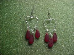 Ruby red cultured sea glass teardrops on by LEFIALYNNCREATIONS, $18.00