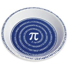 3.14.2013 = Pi Day! - Pi pie plate - Traditional 10″ stoneware pie plate bakes pies evenly.