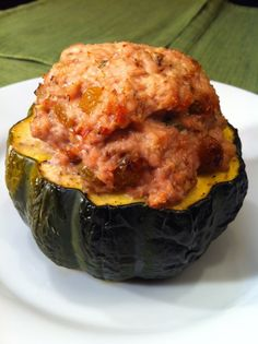 Paleo - Acorn Squash stuffed with Ground Turkey with golden raisins, walnuts and thyme. Delicious!