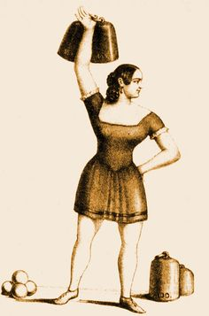 """Among the earliest strongwomen whose names have come down to us is the subject of this lithograph: Elise Serafin Luftmann. Apparently from a German-speaking region of Bohemia, she performed all over central Europe. Luftmann was famous for her ability to lift heavy weights and to juggle cannonballs. This illustration dates c. 1830.""  More ""Venus with Biceps"" women at the click"