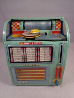 Vintage 100 Select O Matic Tin Toy Jukebox Bank Haji Made in Japan