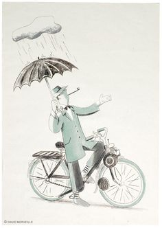 Hulot, solex & nuage par David Merveille
