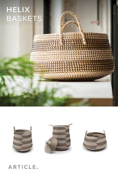 Handwoven seagrass baskets make for a stylish way to organize things you use on the regular.
