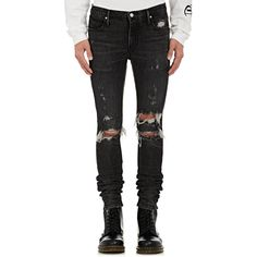 RtA Men's Distressed Skinny Jeans ($315) ❤ liked on Polyvore featuring men's fashion, men's clothing, men's jeans, black, mens torn jeans, mens faded jeans, mens super skinny ripped jeans, mens jeans and mens skinny fit jeans
