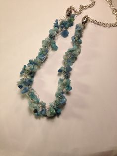 blues and greeen wire crochet by Erin