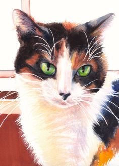 "Tortoiseshell Cat Watercolor Giclee Fine Art Print 5x7"" [Cat Wall Decor, Cat Art Print, Cat Painting, Watercolor Cat, Pet Portrait]"