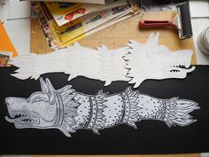 Draco the Dacian wolf original linocut by AnaMariaGruiaART