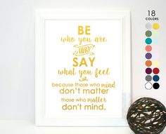 Printed Poster Dr Seuss Be Who You Are and Say What by LivingByVO