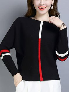 Women's Casual Colorblock Bat Sleeve Sweater – wanokitty pullover quilted pullover blouses and sweaters plush pullover Bat Sleeve, Women's Casual, Comfortable Outfits, Sweater Outfits, Gender Female, Types Of Sleeves, Pullover Sweaters, Sleeve Styles, Color Blocking