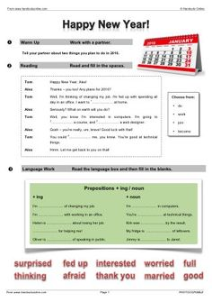New Year EFL ESL worksheets activities and lesson plans