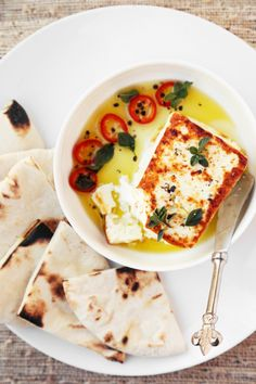 Charred Feta with Homemade Pita Bread - The Candid Appetite