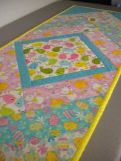 Quilted Table Runner Easter table runner spring by SewEverAfter