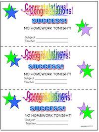 No homework tonight passes! Free!