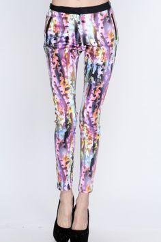 Purple Multi Water Color Print Pants