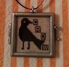Crow Cross Stitch Ornament-Completed Cross by jackwabbitprimitives