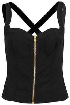Black zip up top @ topshop