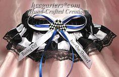 race themed wedding | Custom Wedding Garters - Racing Theme Wedding Garters