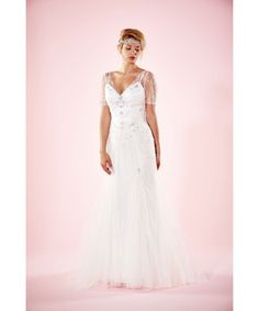 Vintage inspired gown with delicate pearl&diamante detailing.SALE PRICE: £450 from .Silver Sixpence
