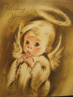 1950's Vintage Christmas Greeting Card USA Adorable Angel Pouty Face Big Eyes