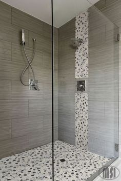 Bathroom Design : Trend 2016 Master Bathroom Tile Design Picture Remodel Decor And Ideas With Grey Rock Glass Waterfall Vertical Design And The Matching Shower Floor Master Bathroom Tile Designs Of The Years Master Bath Tile Designs Gallery. Master Bath Tile. Master Shower Tile Ideas.