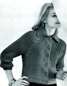 Raglan Cable Jacket Free Knitting Patterns