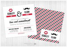 16 Moustache + Lips - Square Invite