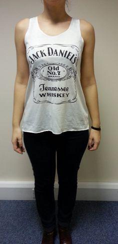JACK DANIELS Print white Vest Tank Top T-Shirts Top Ladies Women Girls New,  $16.14 USD