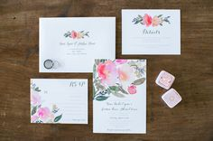Pink & Ivory Floral Invitation Suite