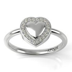 Inel de logodna din aur alb cu diamante. Aur, Heart Ring, Rings, Jewelry, Fashion, Moda, Bijoux, Ring, Heart Rings
