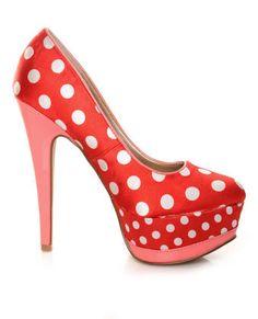 Qupid Penelope 51 Red/White Fabric Polka Dot Platform Pumps $34